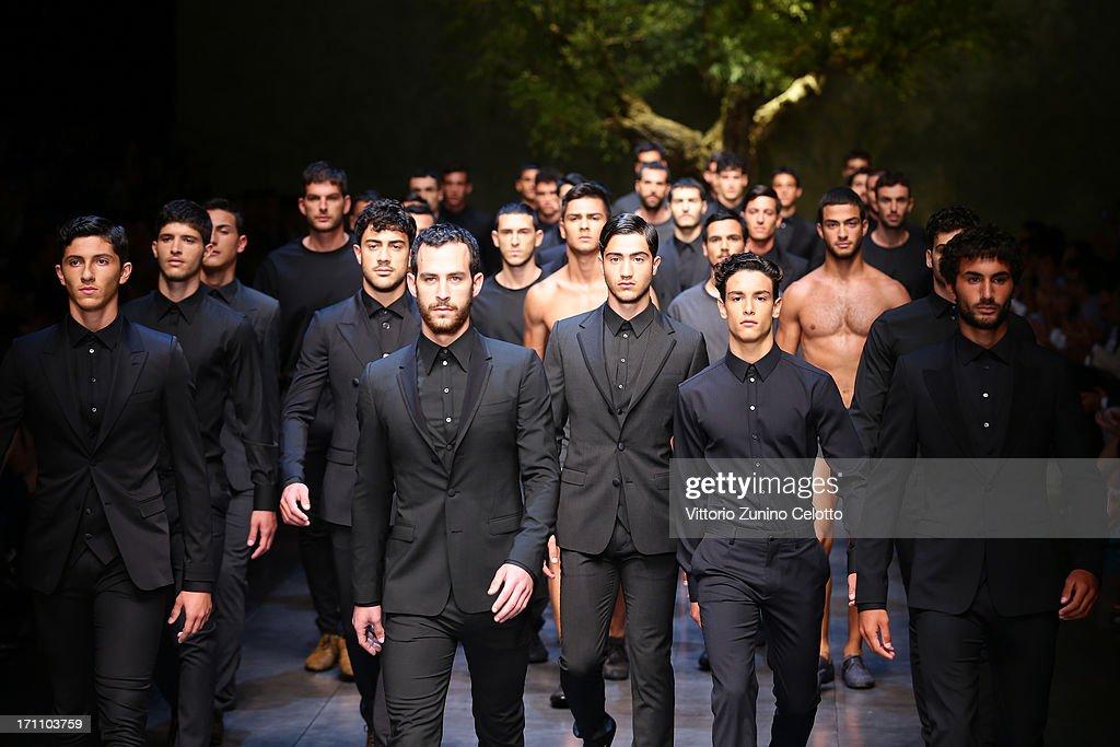 Models walk the runway at the Dolce & Gabbana show during Milan Menswear Fashion Week Spring Summer 2014 on June 22, 2013 in Milan, Italy.