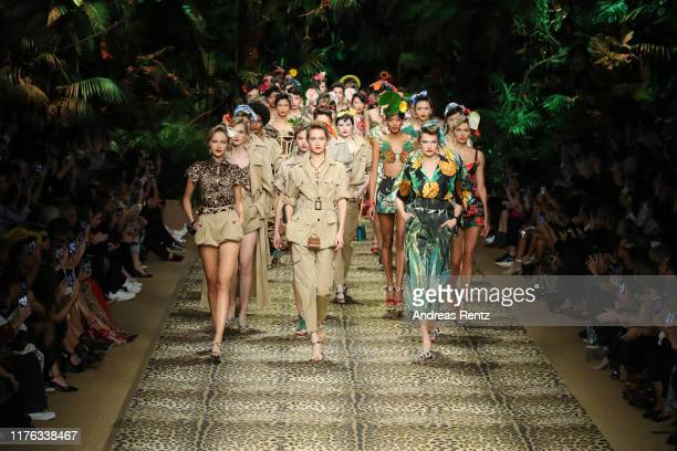 Models walk the runway at the Dolce Gabbana show during the Milan Fashion Week Spring/Summer 2020 on September 22 2019 in Milan Italy