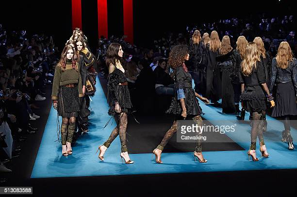 Models walk the runway at the DSquared2 Autumn Winter 2016 fashion show during Milan Fashion Week on February 29 2016 in Milan Italy