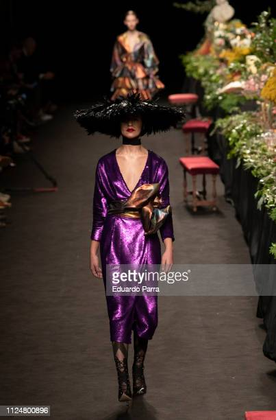 Models walk the runway at the Duyos fashion show during the Mercedes Benz Fashion Week Autumn/Winter 2019-2020 at Ifema on January 25, 2019 in...