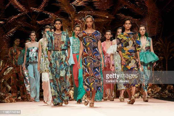 Models walk the runway at the Duyos fashion show during the Mercedes Benz Fashion Week Spring/Summer 2020 at Ifema on July 08, 2019 in Madrid, Spain.
