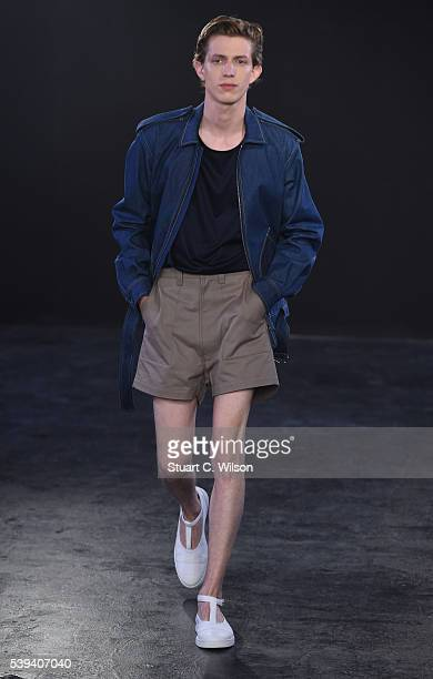 Models walk the runway at the E Tautz show during The London Collections Men SS17 at BFC Presentation Space on June 11 2016 in London England