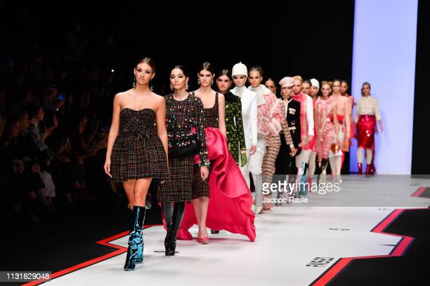 Models walk the runway at the Elisabetta Franchi show at Milan Fashion Week Autumn/Winter 2019/20 on February 23, 2019 in Milan, Italy.