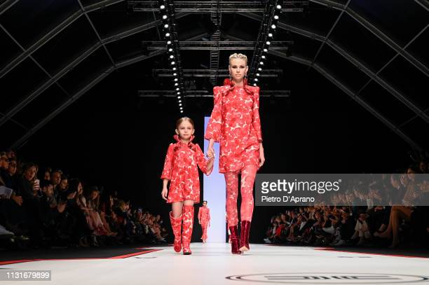 Models walk the runway at the Elisabetta Franchi show at Milan Fashion Week Autumn/Winter 2019/20 on February 23 2019 in Milan Italy