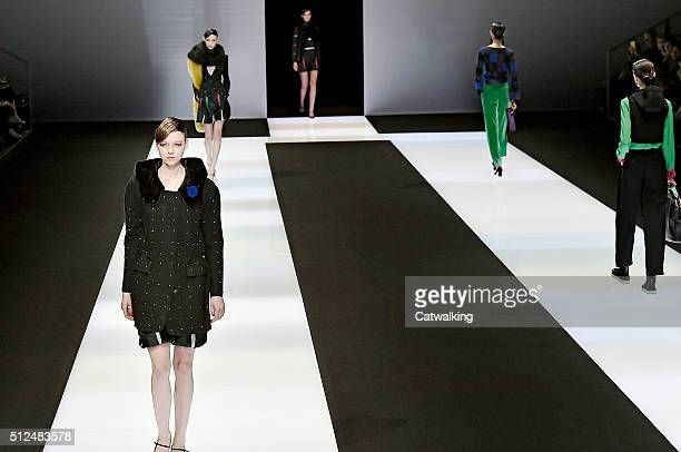 Models walk the runway at the Emporio Armani Autumn Winter 2016 fashion show during Milan Fashion Week on February 26 2016 in Milan Italy