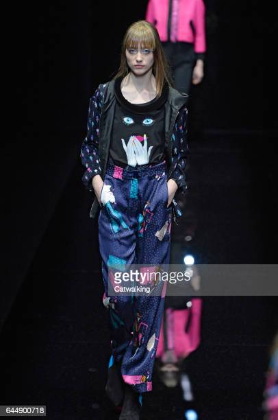 Models walk the runway at the Emporio Armani Autumn Winter 2017 fashion show during Milan Fashion Week on February 24, 2017 in Milan, Italy.