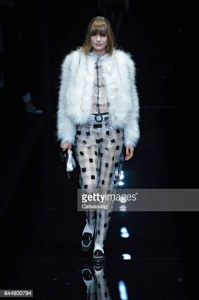 Models walk the runway at the Emporio Armani Autumn Winter 2017 fashion show during Milan Fashion Week on February 24 2017 in Milan Italy