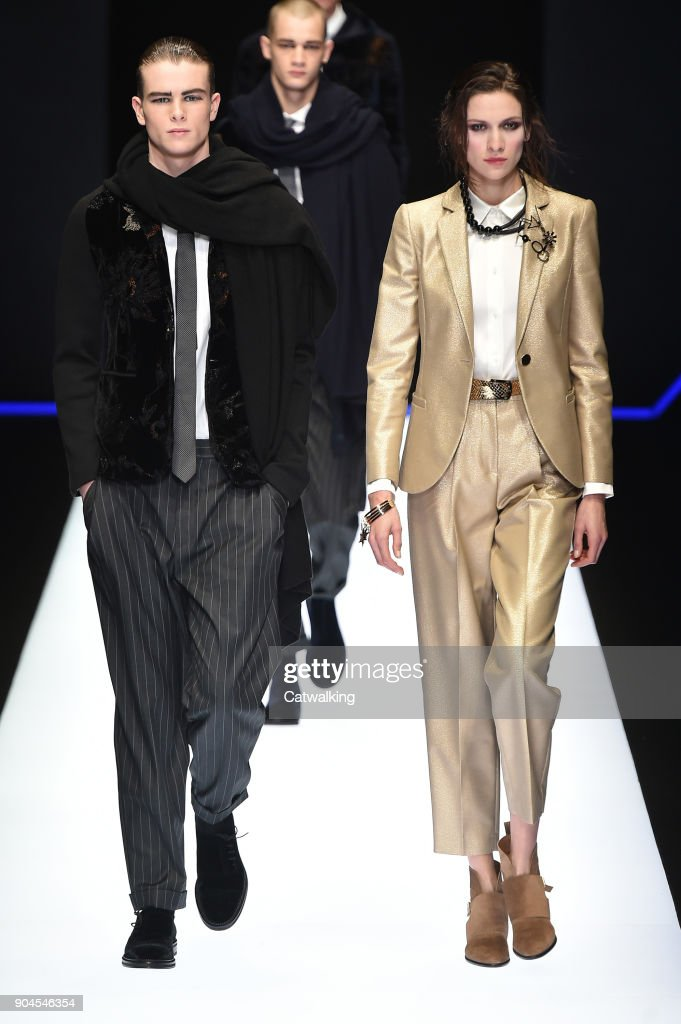 Models walk the runway at the Emporio Armani Autumn Winter 2018 fashion show during Milan Menswear Fashion Week on January 13, 2018 in Milan, Italy.