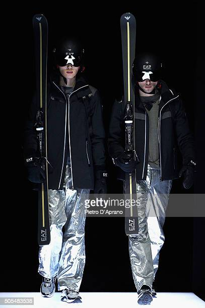 Models walk the runway at the Emporio Armani show during Milan Men's Fashion Week Fall/Winter 2016/17 on January 18 2016 in Milan Italy
