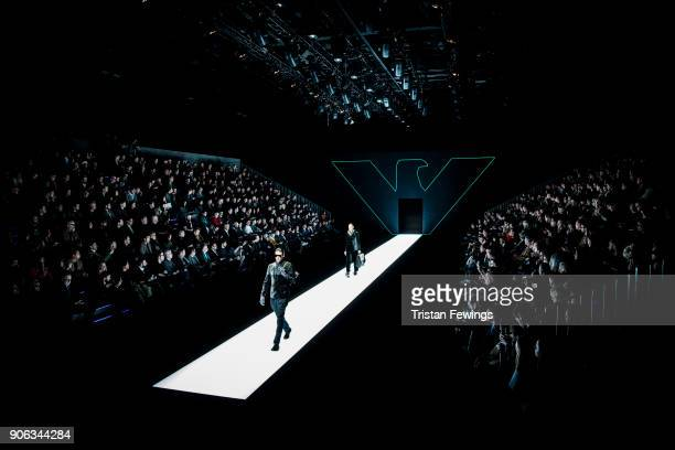 Models walk the runway at the Emporio Armani show during Milan Men's Fashion Week Fall/Winter 2018/19 on January 13 2018 in Milan Italy