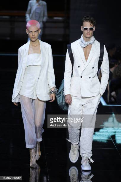 Models walk the runway at the Emporio Armani show during Milan Fashion Week Spring/Summer 2019 on September 20 2018 in Milan Italy