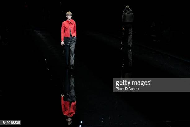 Models walk the runway at the Emporio Armani show during Milan Fashion Week Fall/Winter 2017/18 on February 24 2017 in Milan Italy