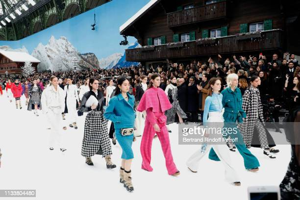 Models walk the runway at the end of the Chanel show as part of the Paris Fashion Week Womenswear Fall/Winter 2019/2020 on March 05 2019 in Paris...