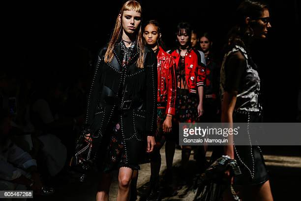 Models walk the runway at the end of the Coach Fashion Show September 2016 New York Fashion Week on September 13 2016 in New York City