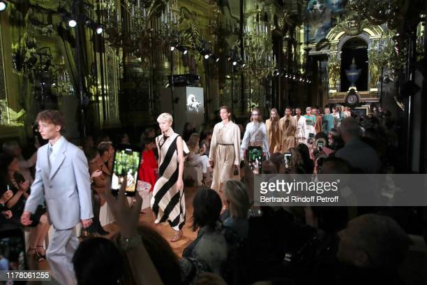 Models walk the runway at the end of the Stella McCartney Womenswear Spring/Summer 2020 show as part of Paris Fashion Week on September 30, 2019 in...