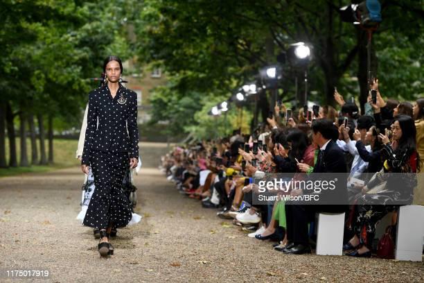 Models walk the runway at the Erdem show during London Fashion Week September 2019 at Grays Inn Gardens on September 16, 2019 in London, England.