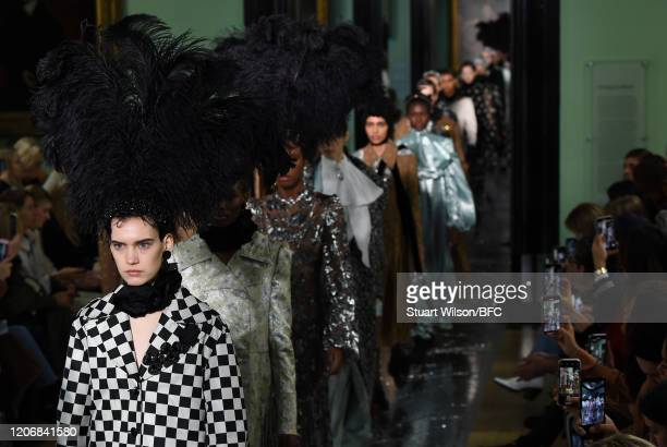 Models walk the runway at the Erdem show during London Fashion Week February 2020 on February 17, 2020 in London, England.