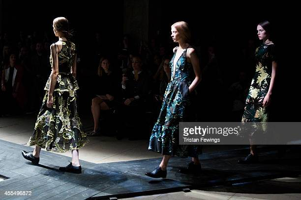Models walk the runway at the Erdem show during London Fashion Week Spring Summer 2015 on September 15 2014 in London England