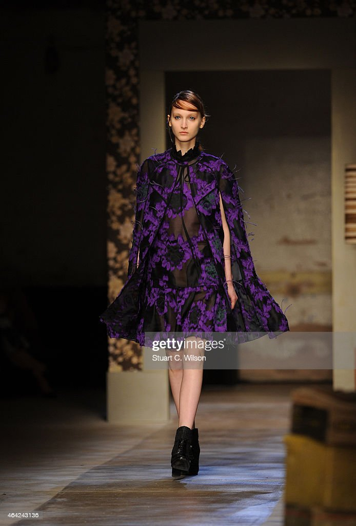 Models walk the runway at the Erdem show during London Fashion Week Fall/Winter 2015/16 at Old Selfridges Hotel on February 23, 2015 in London, England.