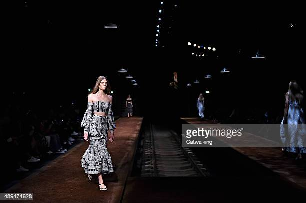 Models walk the runway at the Erdem Spring Summer 2016 fashion show during London Fashion Week on September 21 2015 in London United Kingdom