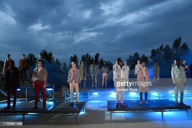 Models walk the runway at the Ermenegildo Zegna fashion show during the Milan Men's Fashion Week Spring/Summer 2020 on June 14, 2019 in Milan, Italy.