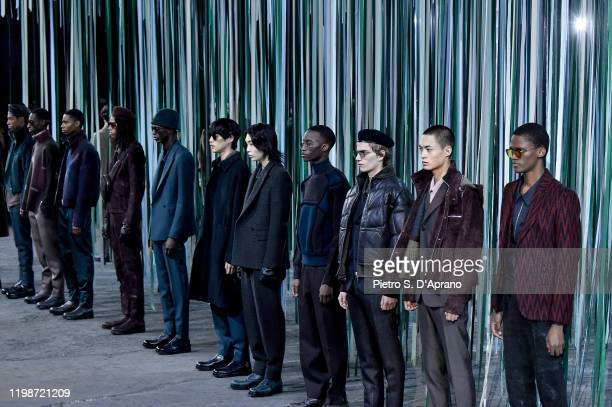 Models walk the runway at the Ermenegildo Zegna fashion show on January 10 2020 in Milan Italy