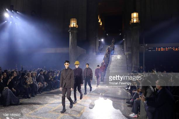 Models walk the runway at the Ermenegildo Zegna show during Milan Menswear Fashion Week Autumn/Winter 2019/20 on January 11 2019 in Milan Italy