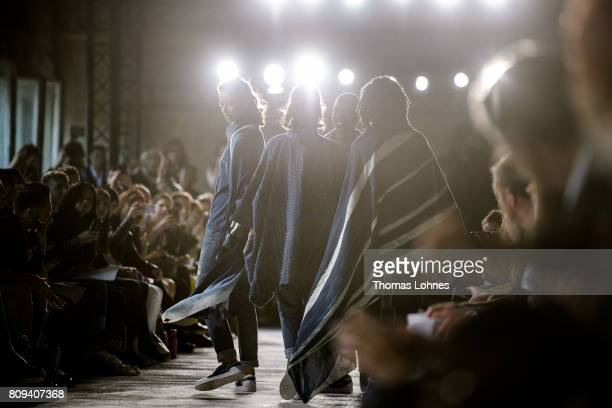 Models walk the runway at the Ethical Fashion on Stage show during the MercedesBenz Fashion Week Berlin Spring/Summer 2018 at Funkhaus Berlin on July...