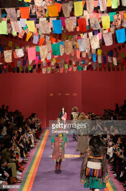 Models walk the runway at the Etro Autumn Winter 2017 fashion show during Milan Fashion Week on February 24 2017 in Milan Italy