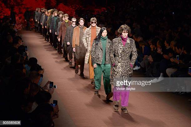 Models walk the runway at the Etro show during Milan Men's Fashion Week Fall/Winter 2016/17 on January 18 2016 in Milan Italy