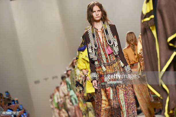 Models walk the runway at the Etro Spring Summer 2017 fashion show during Milan Fashion Week on September 23 2016 in Milan Italy