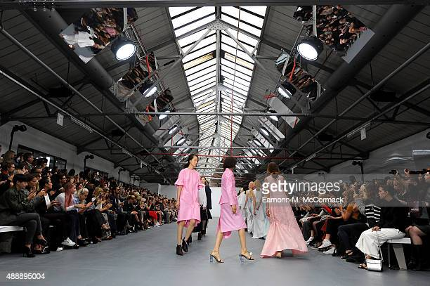 Models walk the runway at the Eudon Choi show during London Fashion Week Spring/Summer 2016/17 on September 18 2015 in London England