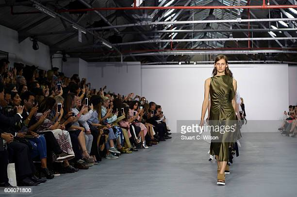Models walk the runway at the Eudon Choi show during London Fashion Week Spring/Summer collections 2017 on September 16 2016 in London United Kingdom