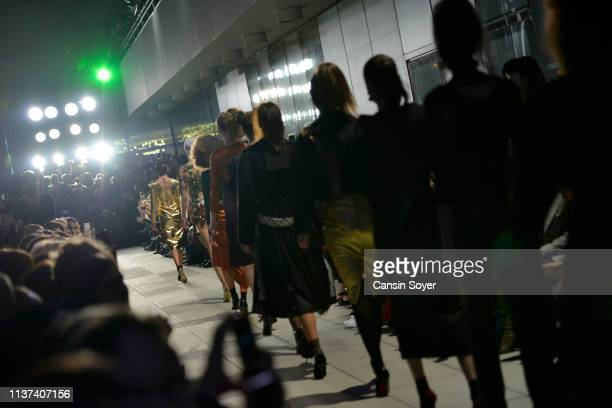 Models walk the runway at the Ezra Tuba show during MercedesBenz Istanbul Fashion Week on March 21 2019 in Istanbul Turkey