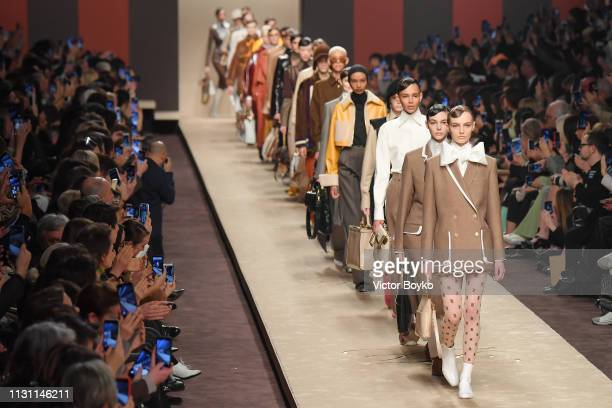 Models walk the runway at the Fendi show at Milan Fashion Week Autumn/Winter 2019/20 on February 21 2019 in Milan Italy