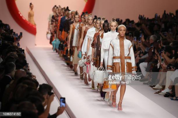 Models walk the runway at the Fendi show during Milan Fashion Week Spring/Summer 2019 on September 20 2018 in Milan Italy