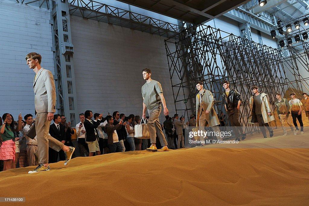 Models walk the runway at the Fendi show during Milan Menswear Fashion Week Spring Summer 2014 show on June 24, 2013 in Milan, Italy.