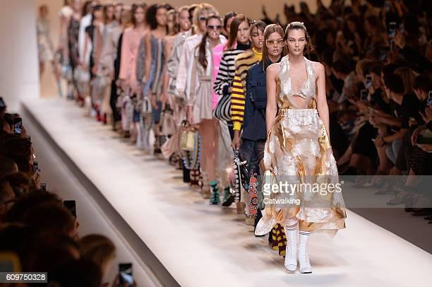 Models walk the runway at the Fendi Spring Summer 2017 fashion show during Milan Fashion Week on September 22 2016 in Milan Italy