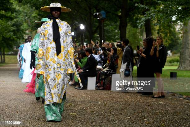 Models walk the runway at the finale of the Erdem show during London Fashion Week September 2019 at Grays Inn Gardens on September 16, 2019 in...
