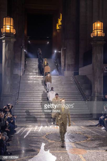 Models walk the runway at the finale of the Ermenegildo Zegna show during Milan Menswear Fashion Week Autumn/Winter 2019/20 on January 11 2019 in...