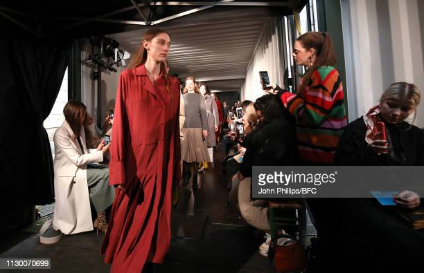 Models walk the runway at the finale of the Eudon Choi show during London Fashion Week February 2019 at the BFC Show Space on February 16 2019 in...