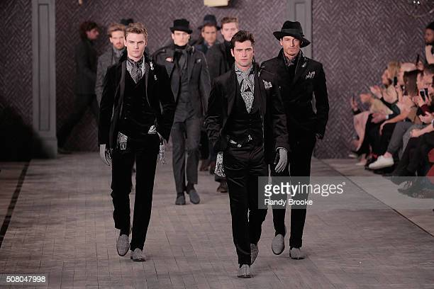 Models walk the runway at the finale of the Joseph Abboud Runway Show during New York Fashion Week Men's Fall/Winter 2016 at Skylight at Clarkson Sq...