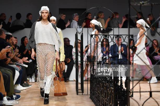 Models walk the runway at the finale of the JW Anderson show during London Fashion Week September 2018 on September 15 2018 in London England