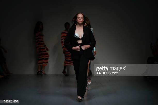 Models walk the runway at the finale of the Marta Jakubowski Show during London Fashion Week September 2018 at The BFC Show Space on September 14...