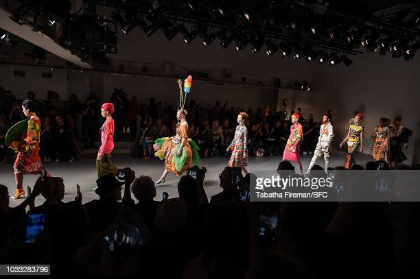 Models walk the runway at the finale of the Matty Bovan Show during London Fashion Week September 2018 at The BFC Show Space on September 14 2018 in...