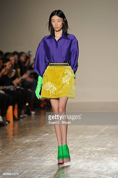 Models walk the runway at the Fyodor Golan show during London Fashion Week Fall/Winter 2015/16 at Royal College of Surgeons on February 20 2015 in...