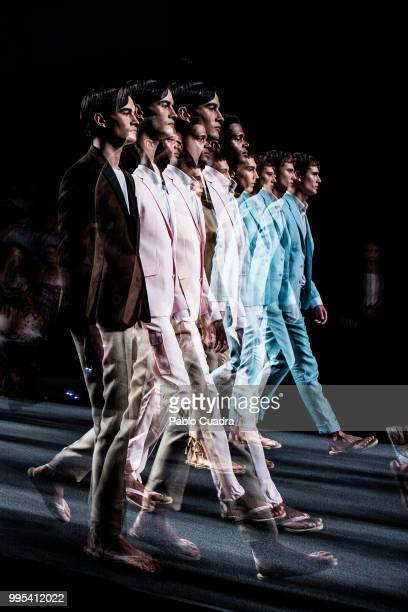 Models walk the runway at the Garcia Madrid show during the MercedesBenz Fashion Week Madrid Spring/Summer 2019 on July 9 2018 in Madrid Spain