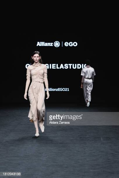 Models walk the runway at the Georgiela Studio fashion show during Samsung EGO Mercedes Benz Fashion Week Madrid April 2021 at Ifema on April 11,...