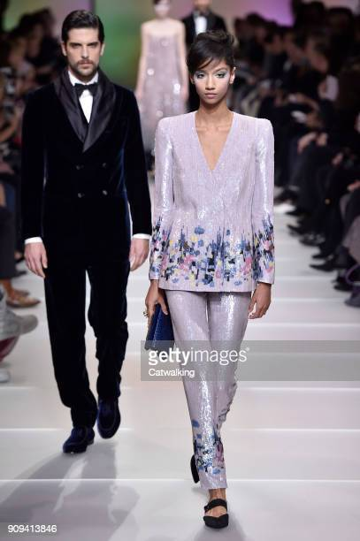 Models walk the runway at the Giorgio Armani Prive Spring Summer 2018 fashion show during Paris Haute Couture Fashion Week on January 23 2018 in...