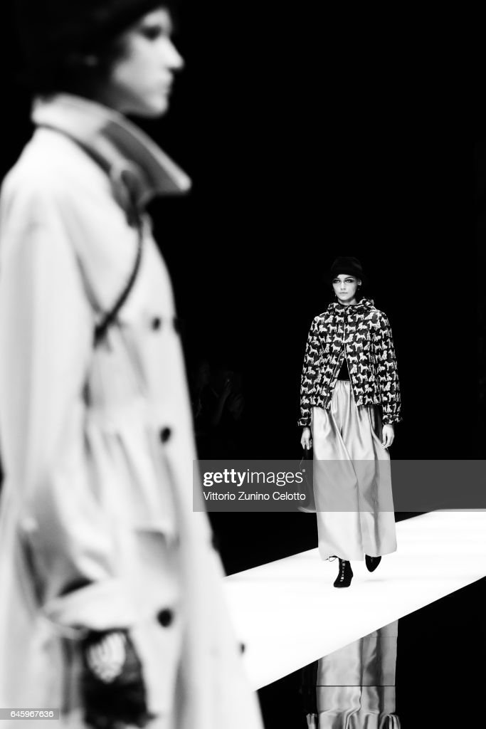 Models walk the runway at the Giorgio Armani show during Milan Fashion Week Fall/Winter 2017/18 on February 27, 2017 in Milan, Italy.
